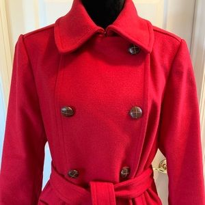 Express Red Belted Trench Coat!